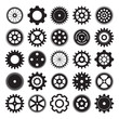 vector set of gear wheels on white background