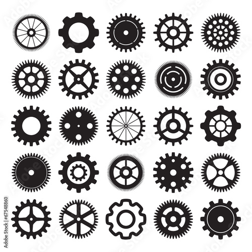 vector set of gear wheels on white background - 67548860