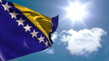 Bosnia national flag waving