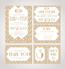 Save The Date. Set Of Wedding Invitation Cards.