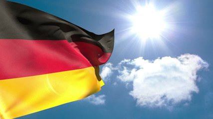 German national flag waving