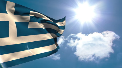 Greek national flag waving