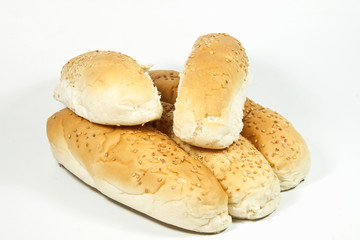 Five Seeded White Breadrolls on White Background