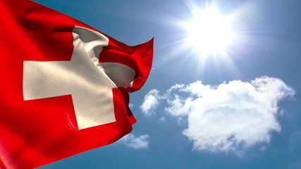 Swiss national flag waving