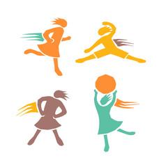 Active sports girls vector set 3