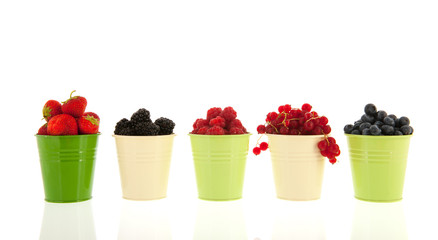 Summer fruit in buckets