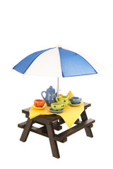 Picnic table with crockery