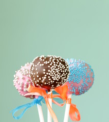 colorful cake pops - chocolate, vanilla, caramel flavors