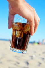 cola drink on the beach