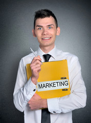 Man marketing folder