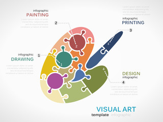 Visual art concept infographic template with palette