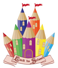 Back to School.  Magic school castle, vector
