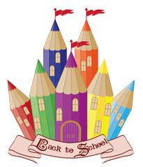 Back to School.  Magic school castle, vector