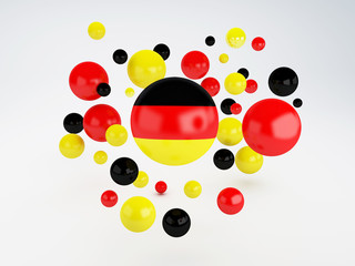 National flag of Germany on sphere
