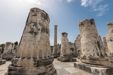 Ruins of  giant columns of ancient Apollo temple in Didyma