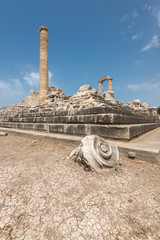 Ruins of ancient Apollo temple in Didyma, Turkey