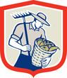 Organic Farmer Rake Harvest Basket Retro
