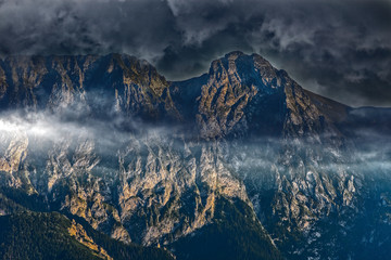 View of Giewont massif covered with dark clouds