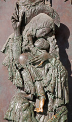 Rome - modern relief from bronze gate of Santa Maria Maggiore