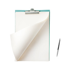 Blank notepad with pen isolated on white background