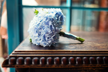 Beautiful wedding bouquet in blue tones