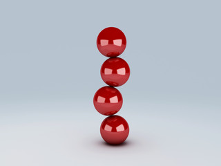 red spheres in equilibrium