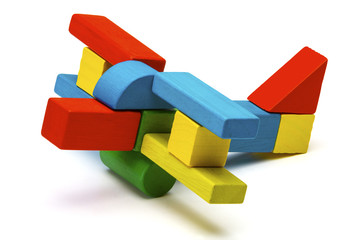 toy airplane, multicolor wooden blocks air plane transport