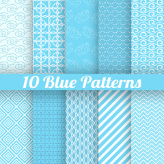 10 Blue different seamless patterns (tiling)