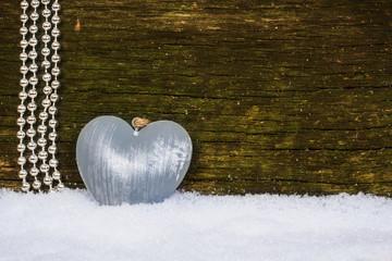 Weihnachtskarte, Perlen und Herz