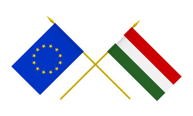 Flags, Hungary and European Union