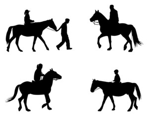 riding horses silhouettes - vector
