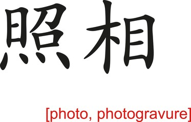 Chinese Sign for photo, photogravure