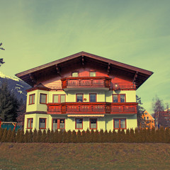 Tradition mountain  wooden chalet in Alps(Austria)