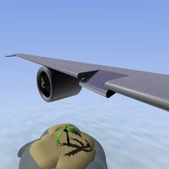 Vliegreis naar een tropisch eiland