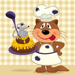cat chef prepare cake  - vector  illustration, eps
