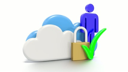 Set of clouds and a padlock, secure data storage