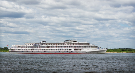 Cruise ship sailing along the Volga. Russia