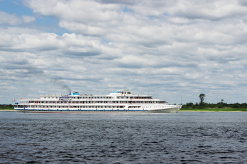 Cruise white ship sailing along the Volga. Russia