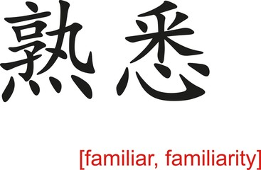 Chinese Sign for familiar, familiarity