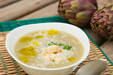 A plate of artichoke cream soup