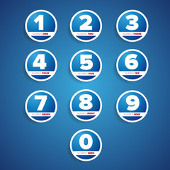 set of buttons with number