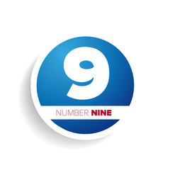 Number nine label or tag