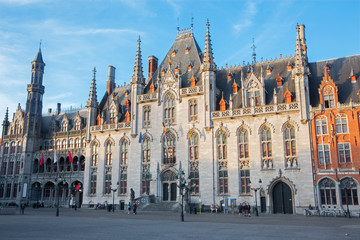 Bruges- Grote Markt and the Provinciaal Hof gothic building