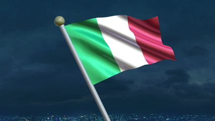 Looping Italian flag animation with sky background