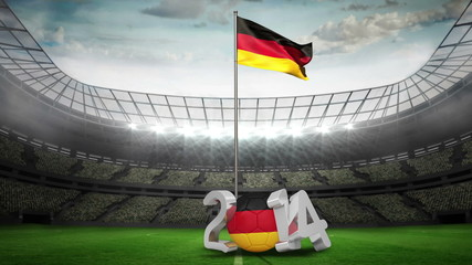 Germany national flag waving in football stadium