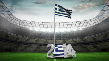 Greece national flag waving in football stadium