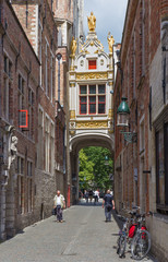 Bruges - Back side of Town hall and Blinde Ezelstraat street.