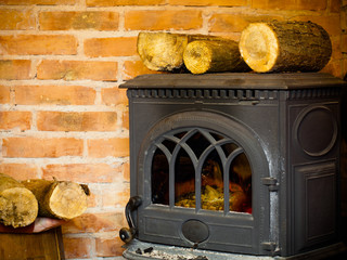 Fireplace with fire flame and firewood interior