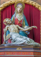 Bruges - The neo-gothic carved Pieta in st. Jacobs church