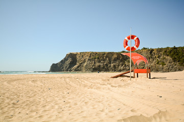 Praia de Odeceixe, Life guard on the beach, Algarve Portugal